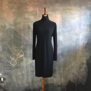Kamali Kulture Slinky Black Mock Turtleneck Dress